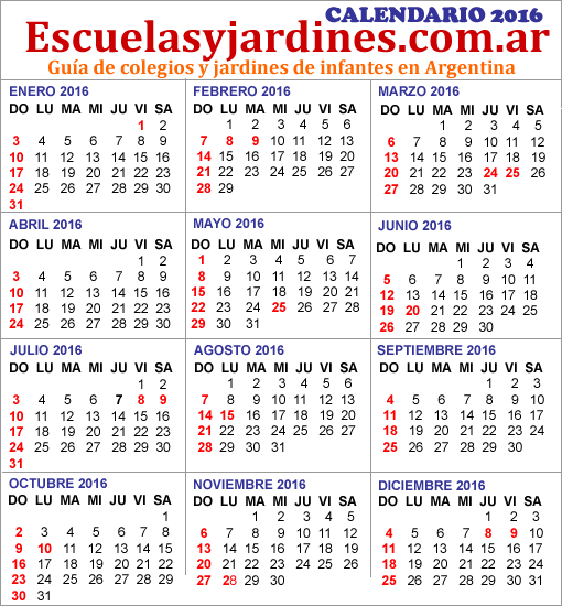 Calendarios con feriados : 2014 - 2015 - 2016